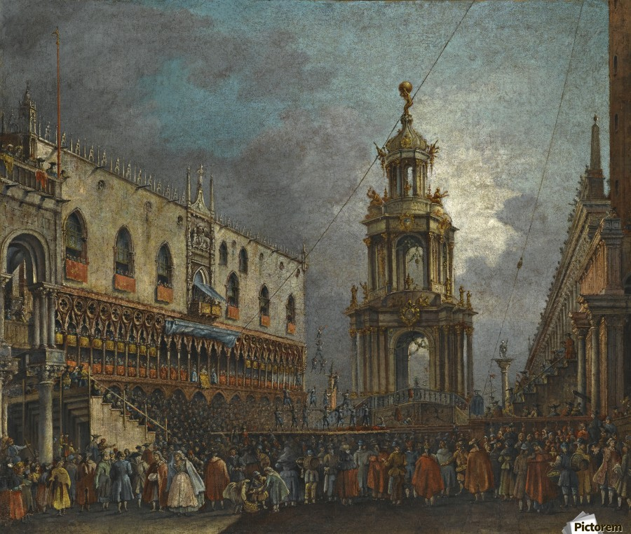 A view of the Piazzetta at Carnival, Venice  Print