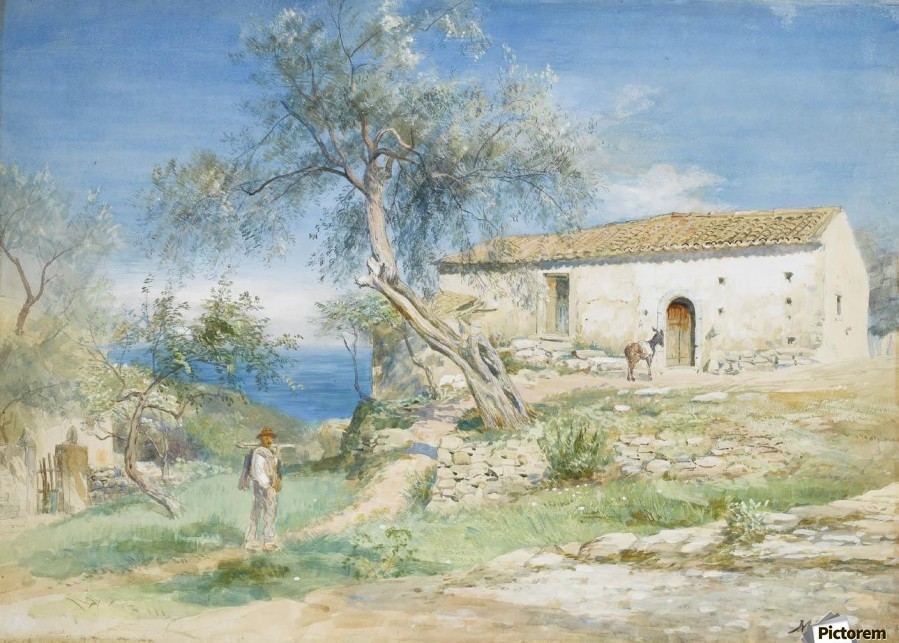 A villa at Taormina  Print