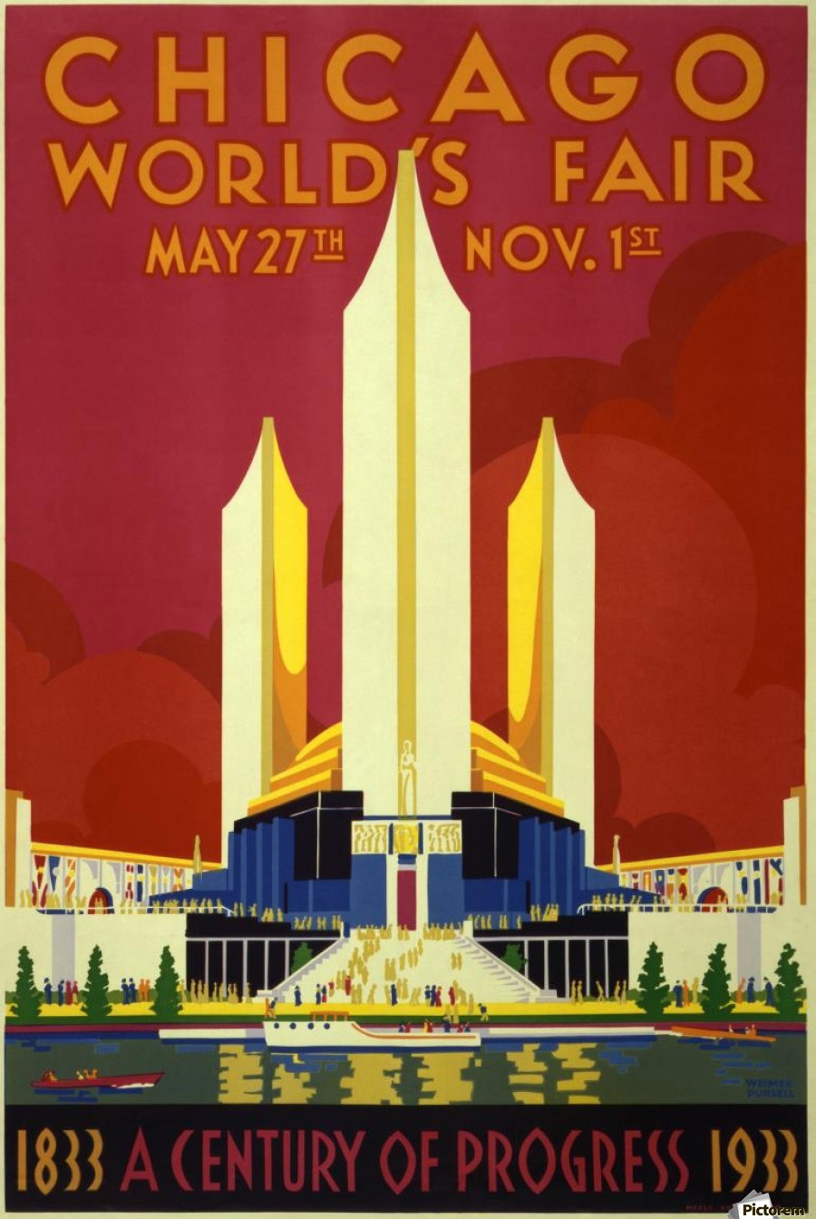A vintage travel poster promoting the 1933 World Fair in Chicago  Print