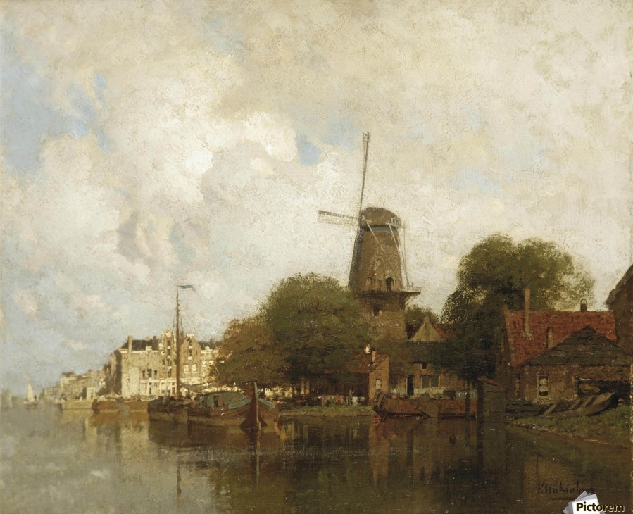 A windmill along the river Amstel, Amsterdam  Print