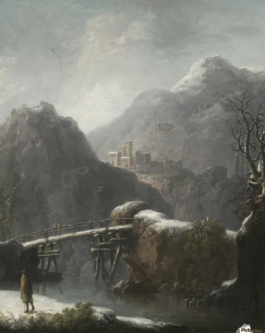 A winter landscape with travellers before a bridge, a Hilltop Town beyond  Print