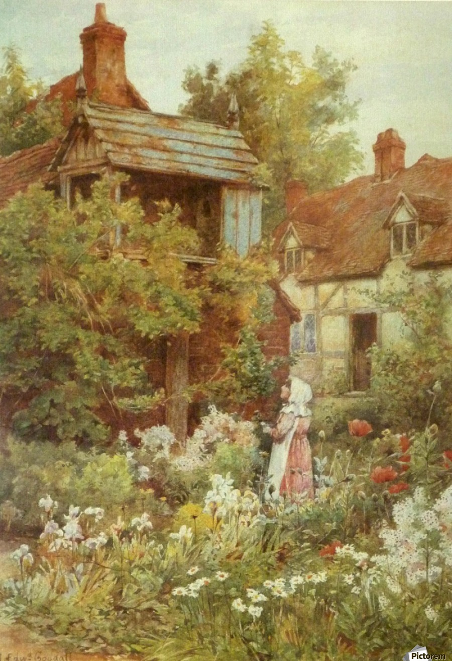 A young girl starring by the house  Print