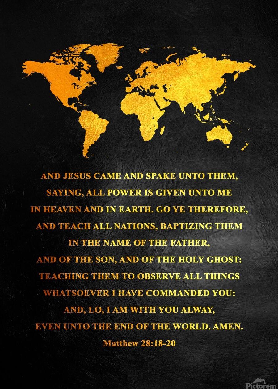 Matthew 28:18-20 Bible Verse Wall Art  Print
