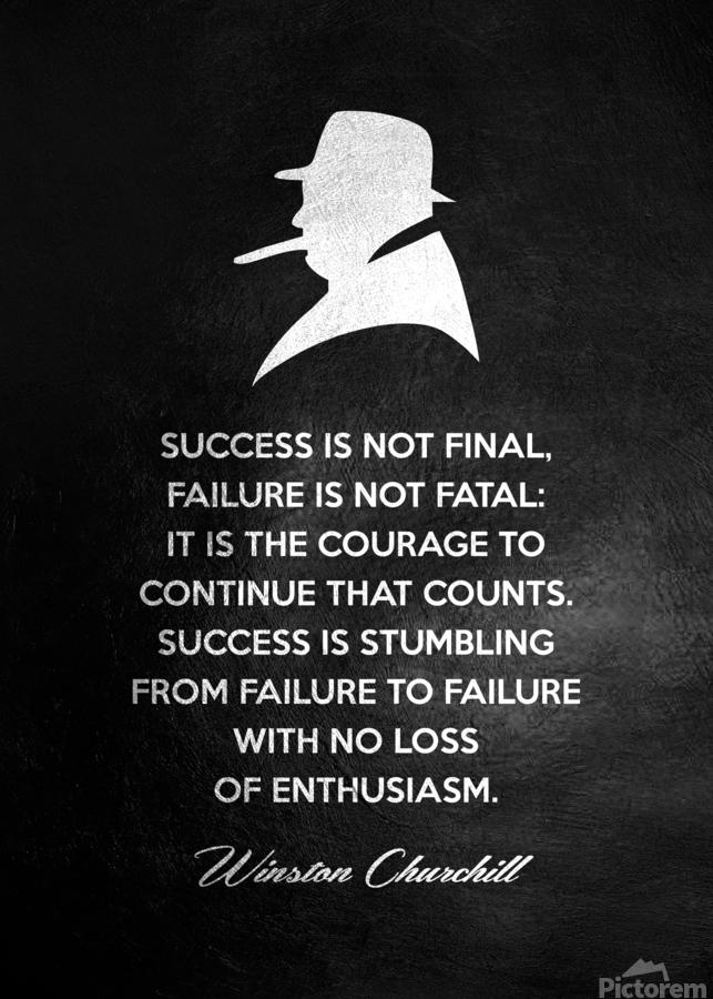 Winston Churchill Motivational Wall Art  Print