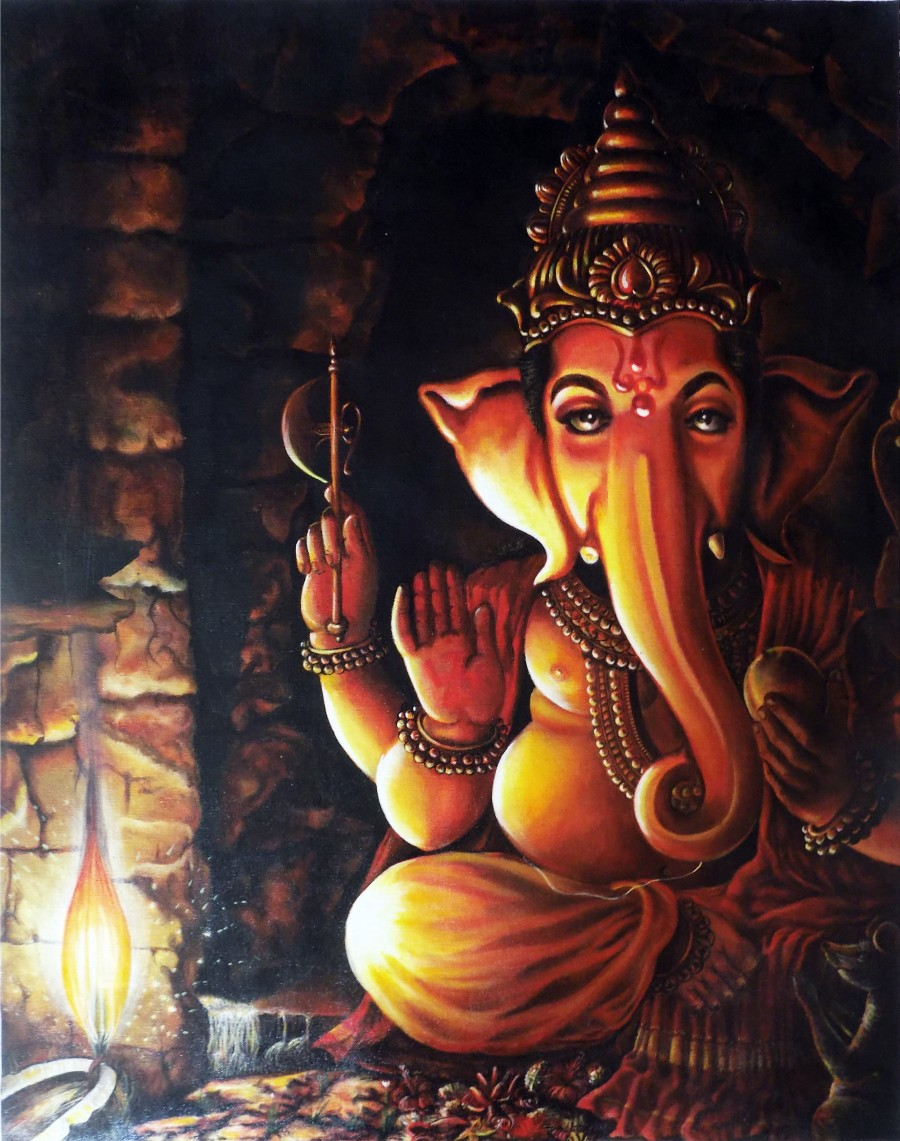 Lord ganesha multi color painting hd image - Portrait Of Lord Ganesha