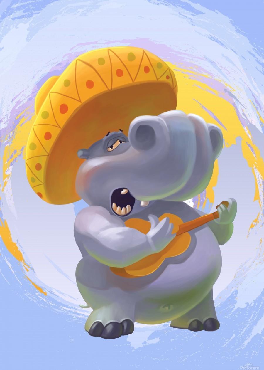Hippopotamus mariachi  Print