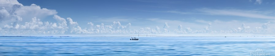 Fishing boat in front of Sunshine Skyway  Print