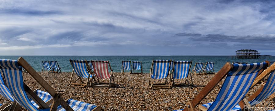 Deckchairs In Brighton  Print