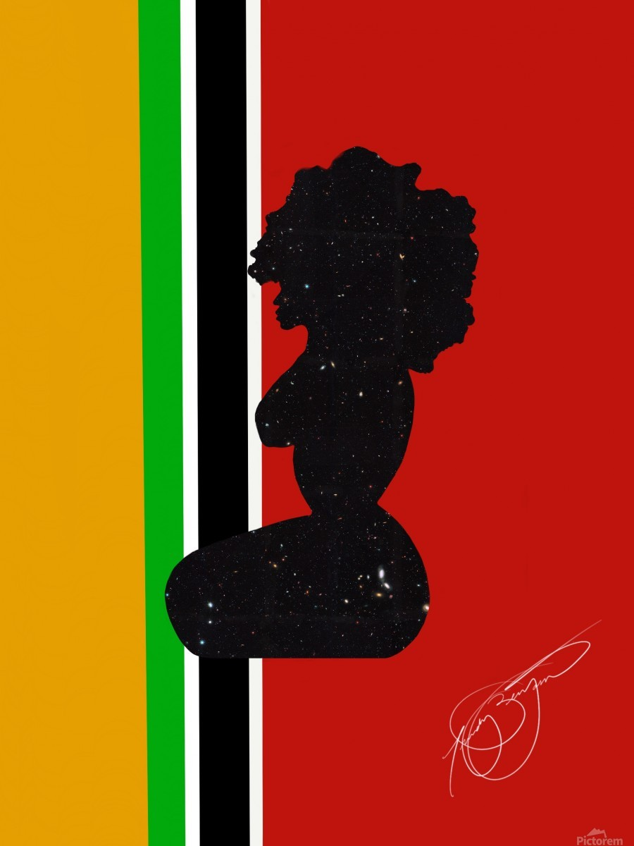 Afrocentric Woman Silhouette- African Flag  Print