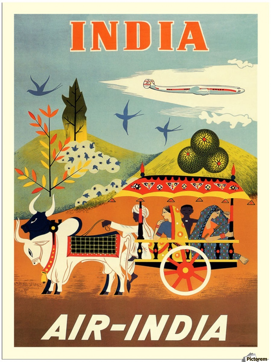 Air India Poster For India Vintage Poster Canvas