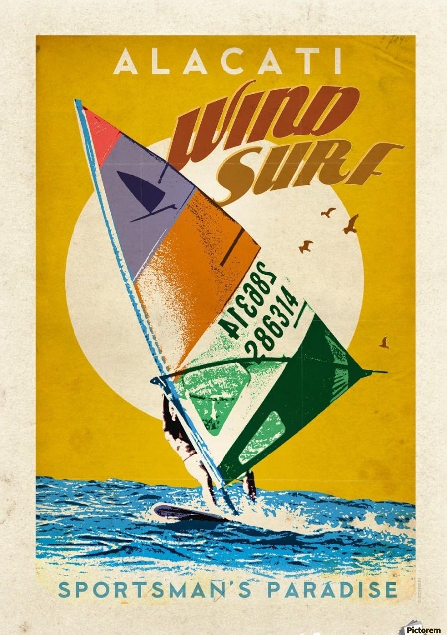 alacati wind surf vintage travel poster vintage poster canvas