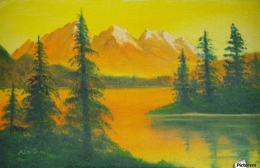 Yellow sky- snow capped mountains.  Print