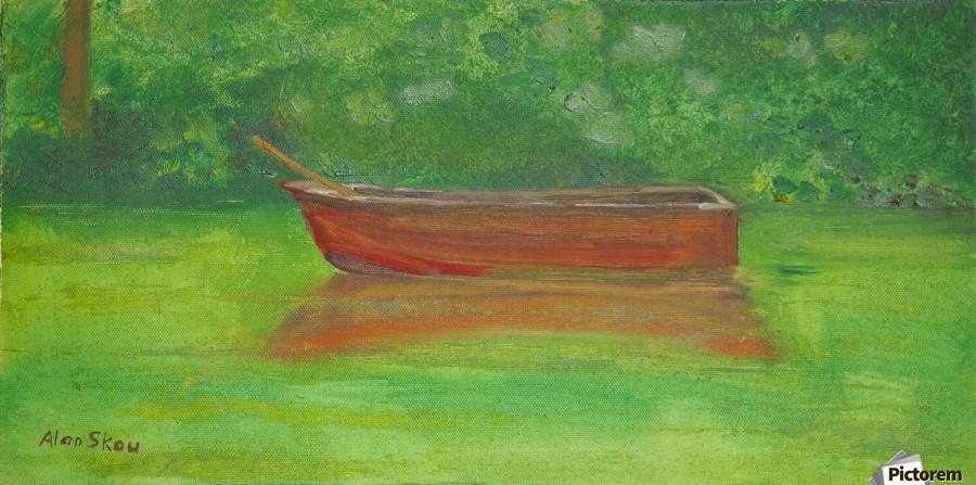 Rowboat drifting.  Print