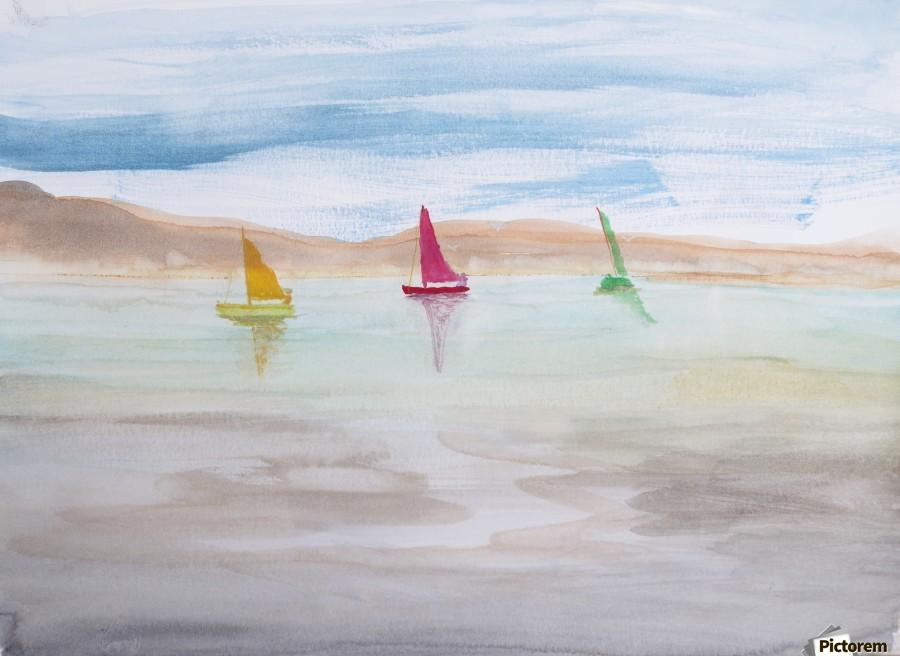 Three sailboats.  Print
