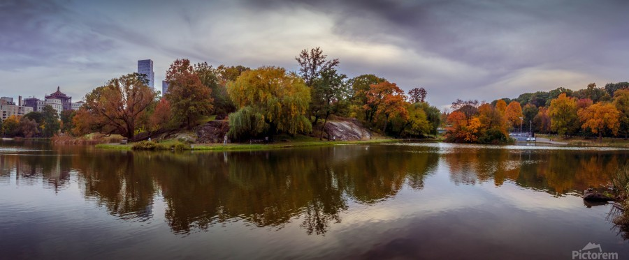 Central park lake panorama  Print