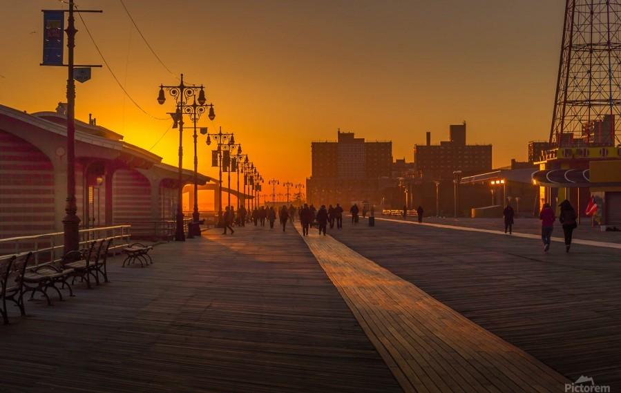 Sunset over the boardwalk  Print