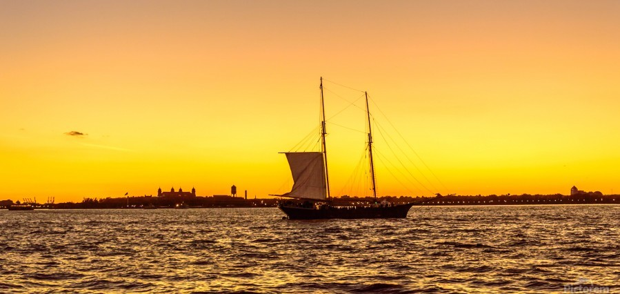 Sunset over the NY harbor  Print