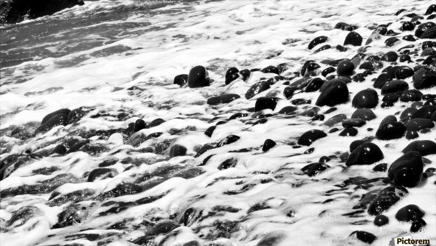 Beach Rocks Black and White II  Print