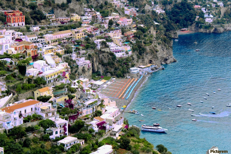 Aerial view of Positano Beach - Italy  Print