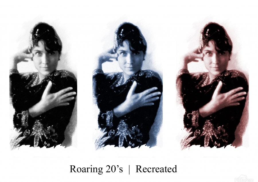 Roaring 20s Recreation Model released triptych of a 1920s flapper.  Print