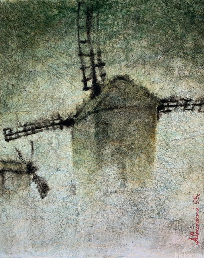 Windmills in the fog  Print