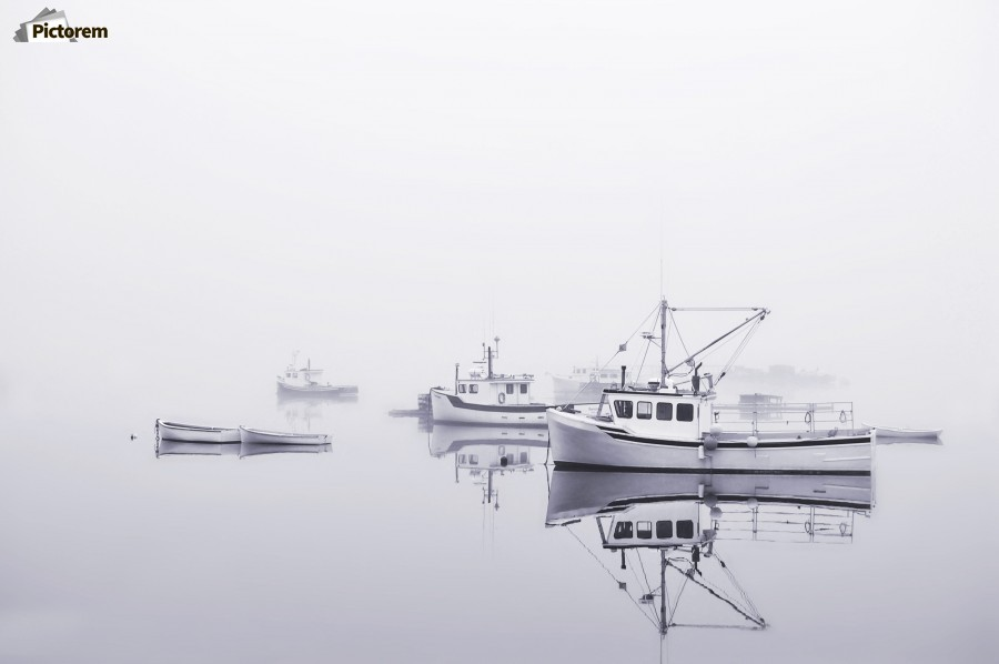 New Brunswick  Boats in the Mist  Print