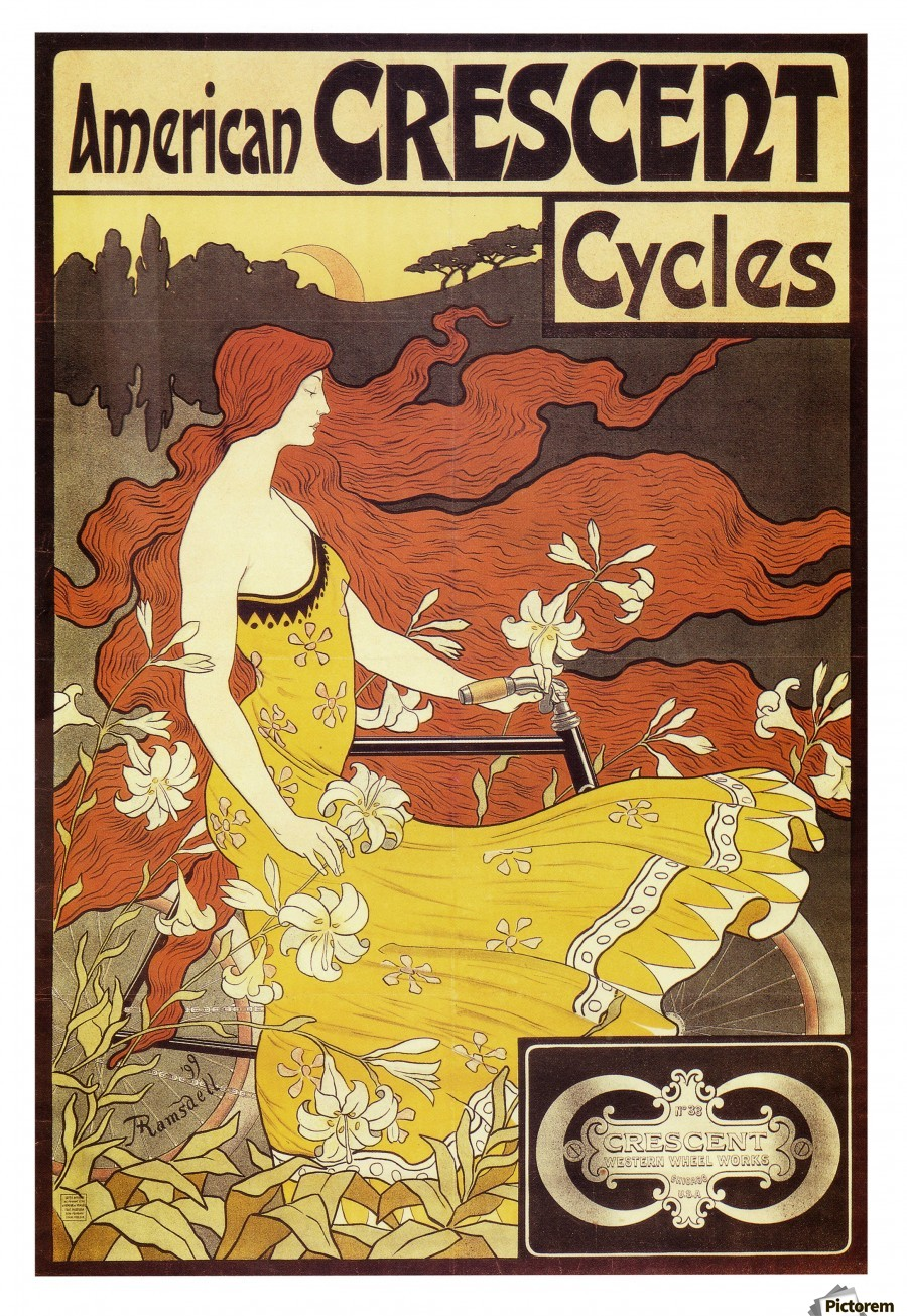 American Crescent Cycles Poster, 1899 - VINTAGE POSTER Canvas