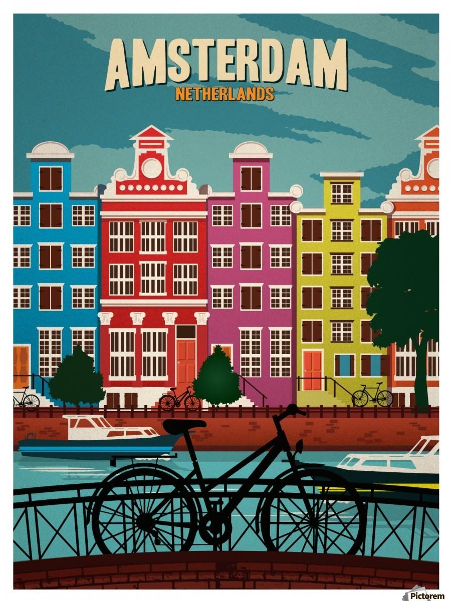 Amsterdam netherlands art print travel poster vintage