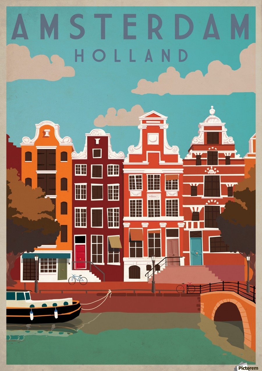 Amsterdam Vintage Travel Poster Vintage Poster Canvas