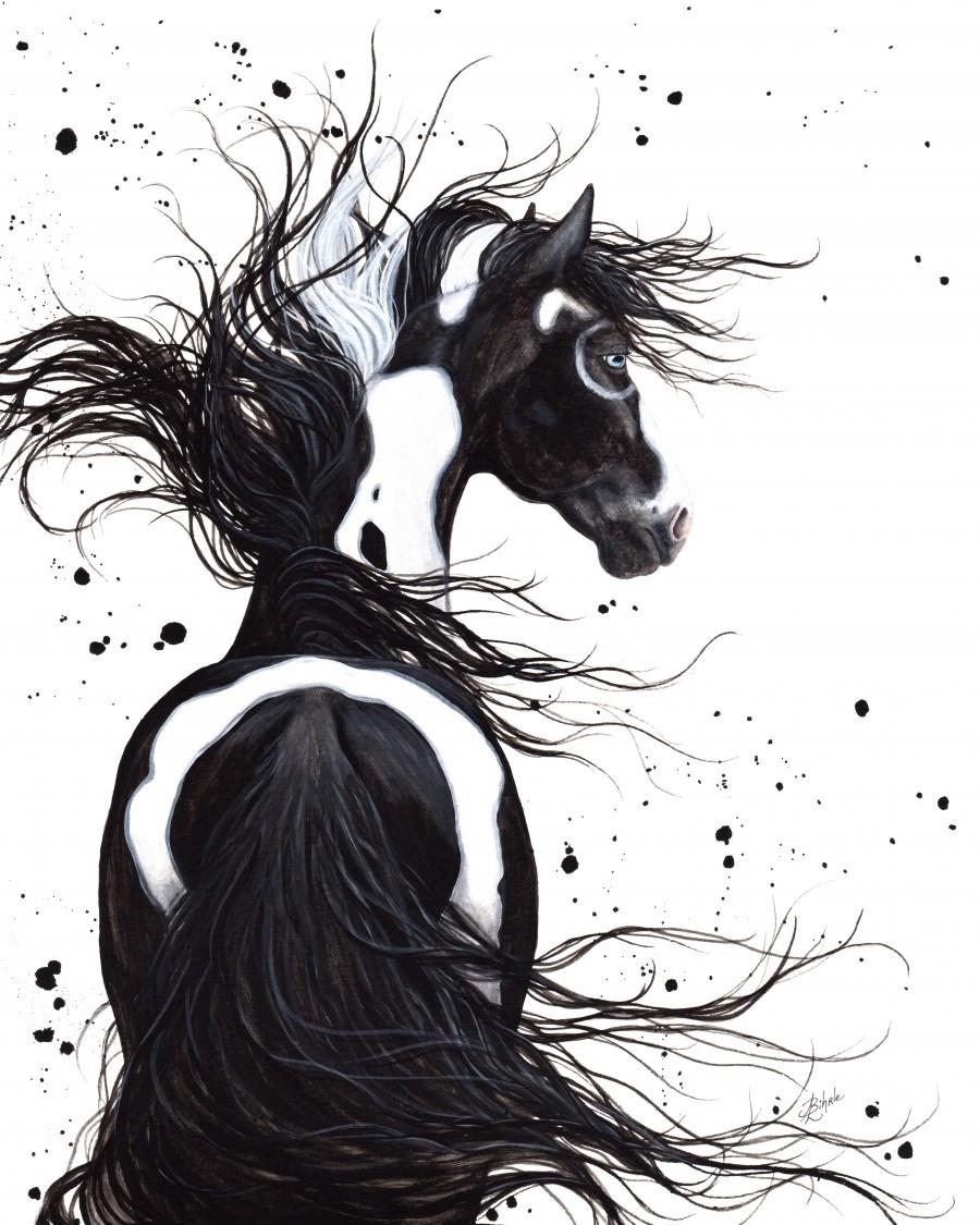 Black and White Pinto Horse  Print