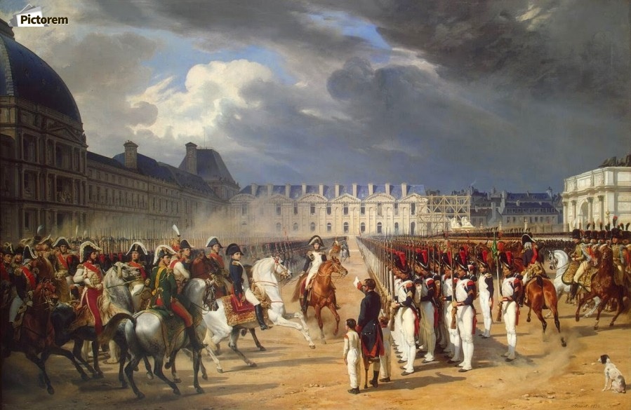 An Invalid Submitting a Petition to Napoleon at a Parade in the Courtyard of the Tuileries Palace 1838  Print
