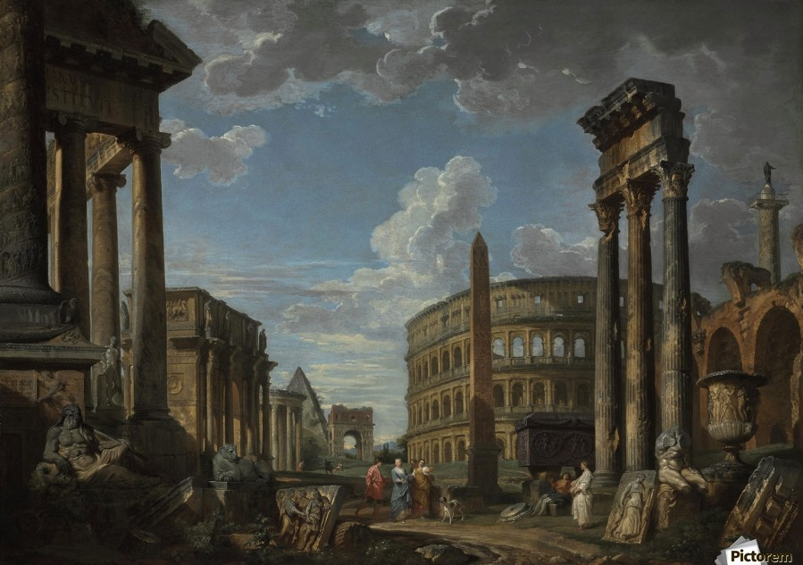 An architectural capriccio with figures among Roman ruins  Print