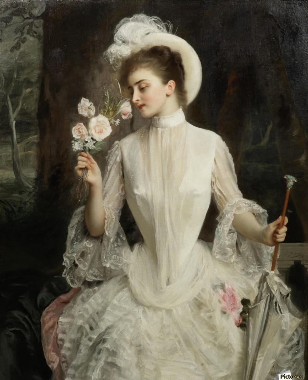 An elegant bouquet - Gustave Jean Jacquet Canvas