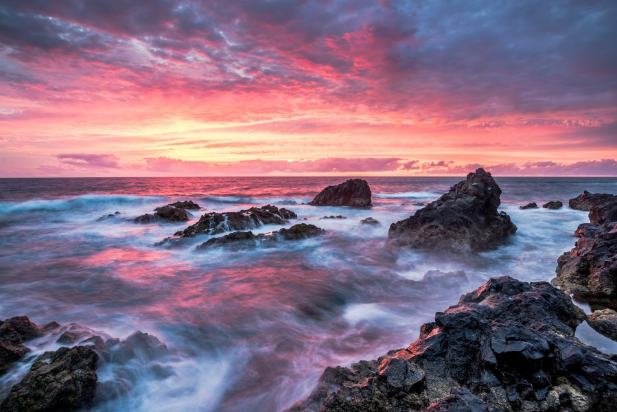 Colorful Sunset at Wild Coast on the Canary Islands  Print