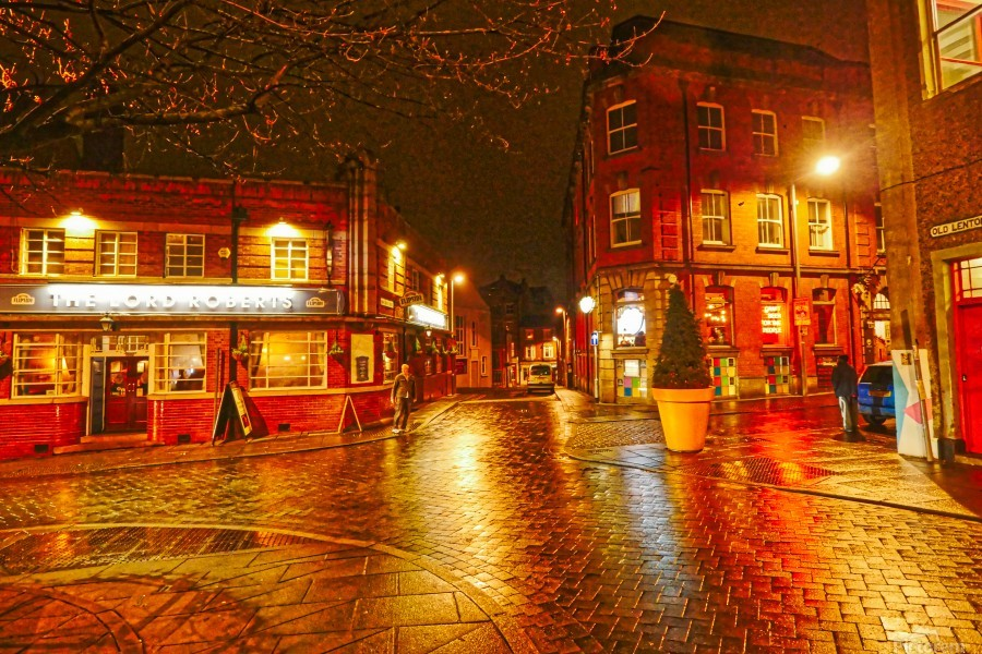 Wet streets by night  Print