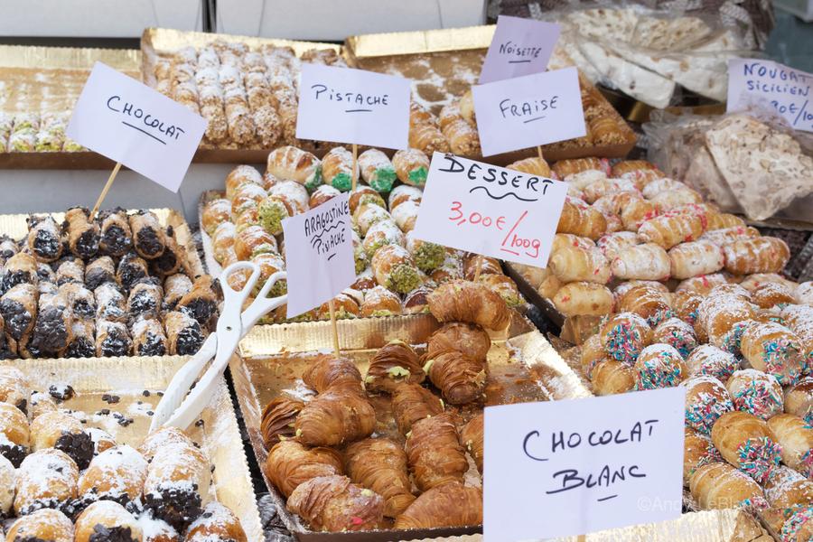 Desserts at market in France  Print