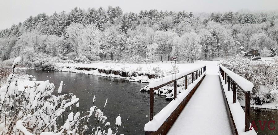 Rugby Pitch Bridge- Winter  Print