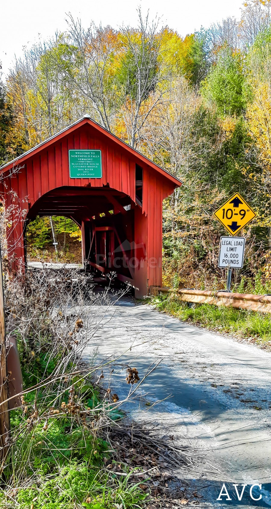 Slaughterhouse Bridge Northfield VT-- Autumn  Print