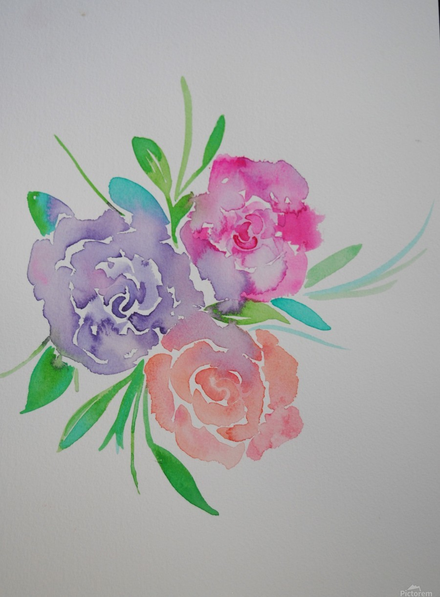 Watery roses  Print