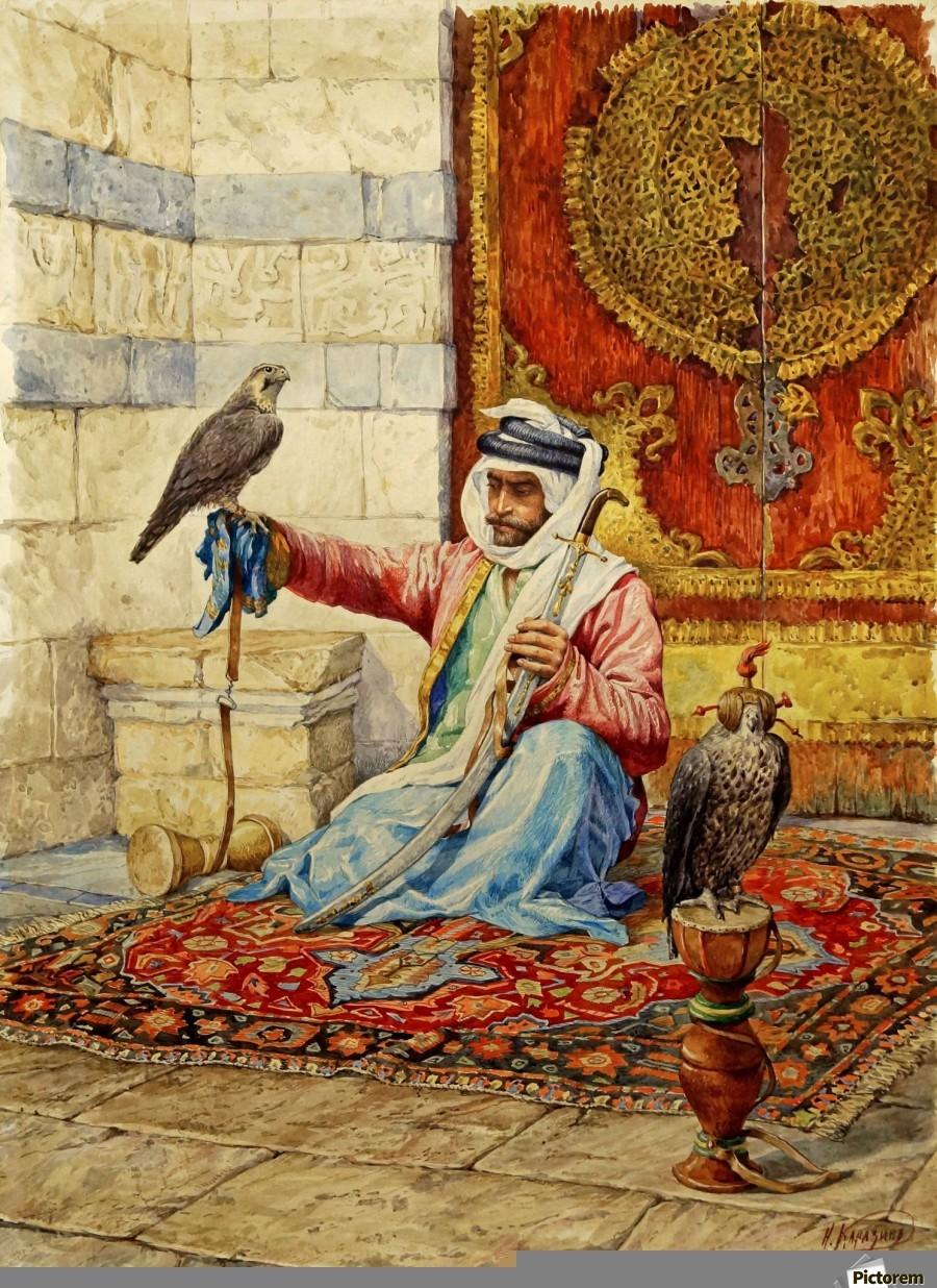 arab falconer in a moorish interior nikolai nikolaevich karazin canvas