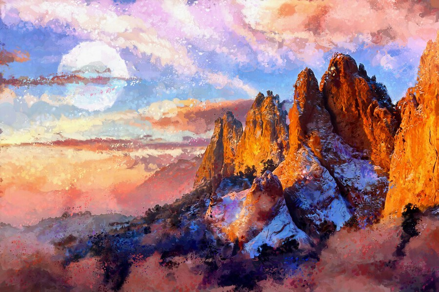Colorado Mountains - Digital Painting III  Print