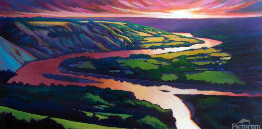 Peace River Setting Sun  Print