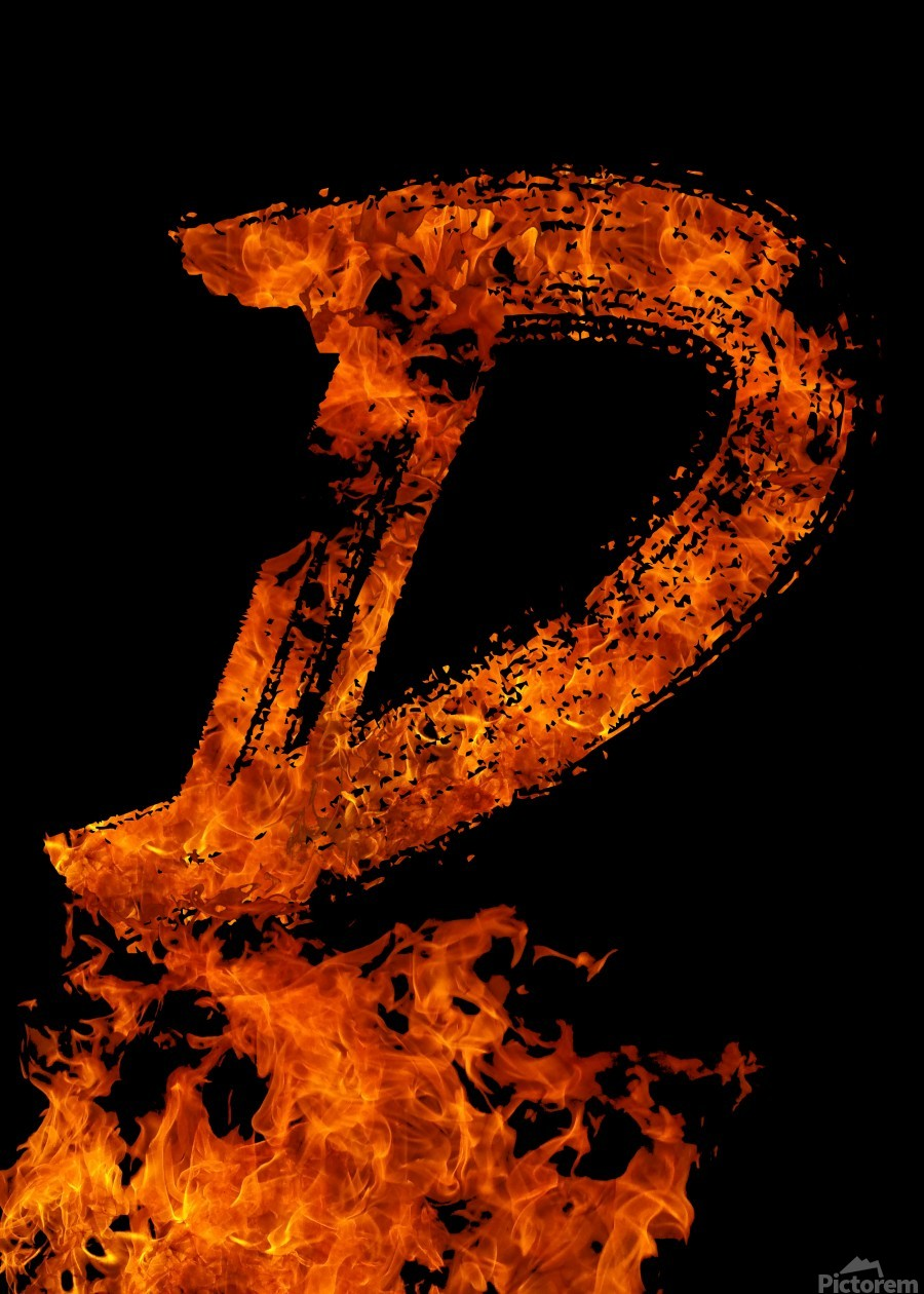 Burning on Fire Letter D  Print