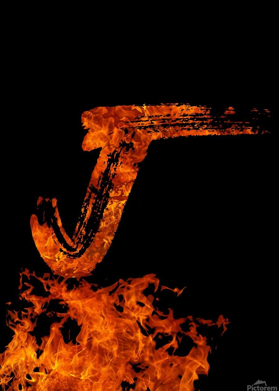 Burning on Fire Letter J  Print