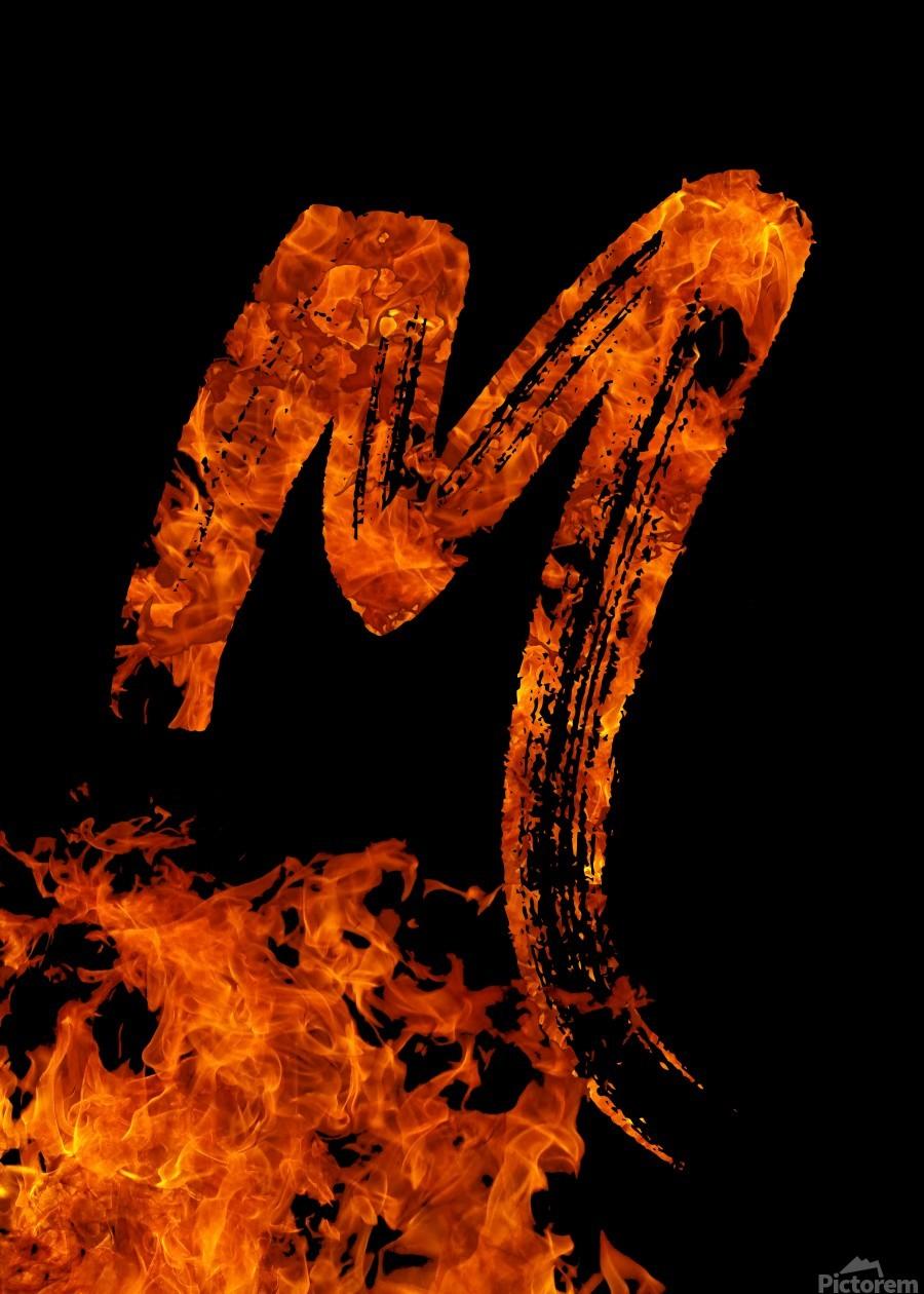 Burning on Fire Letter M  Print