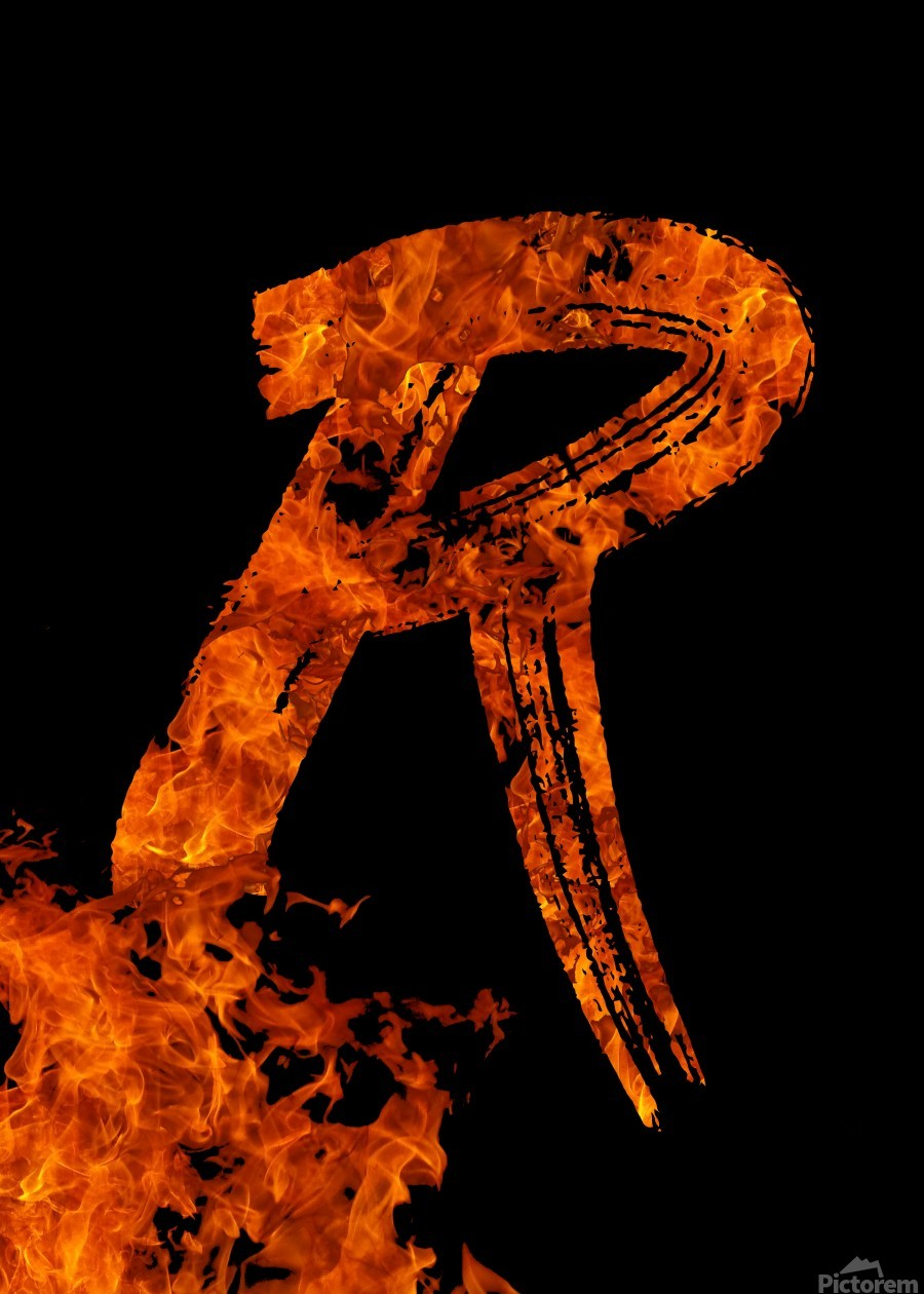 Burning on Fire Letter R  Print