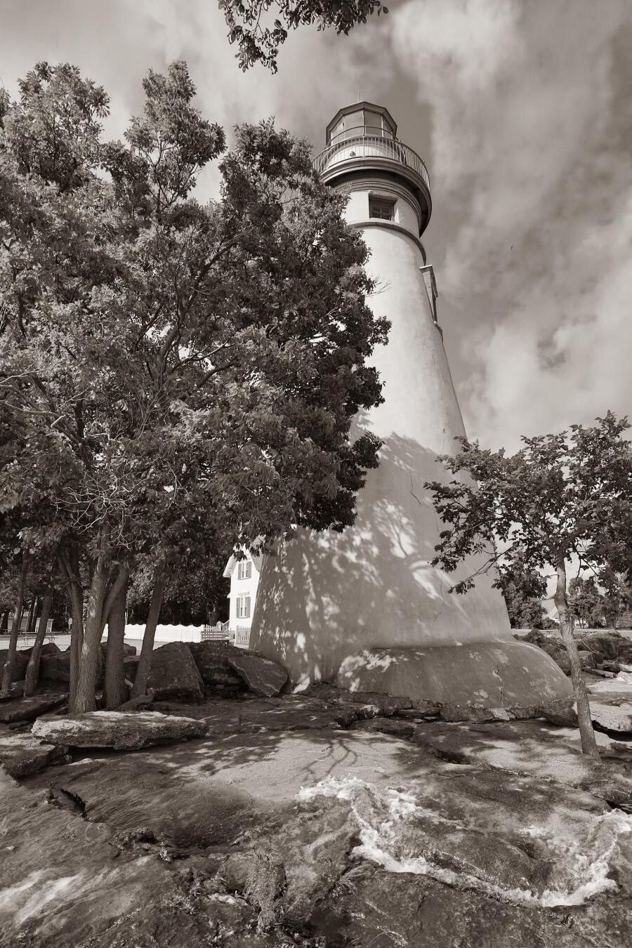 Marblehead Lighthouse ap 2400 B&W  Print