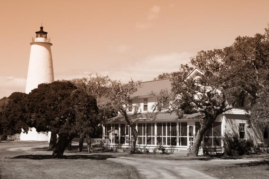 Ocracoke Light ap 1743 B&W  Print