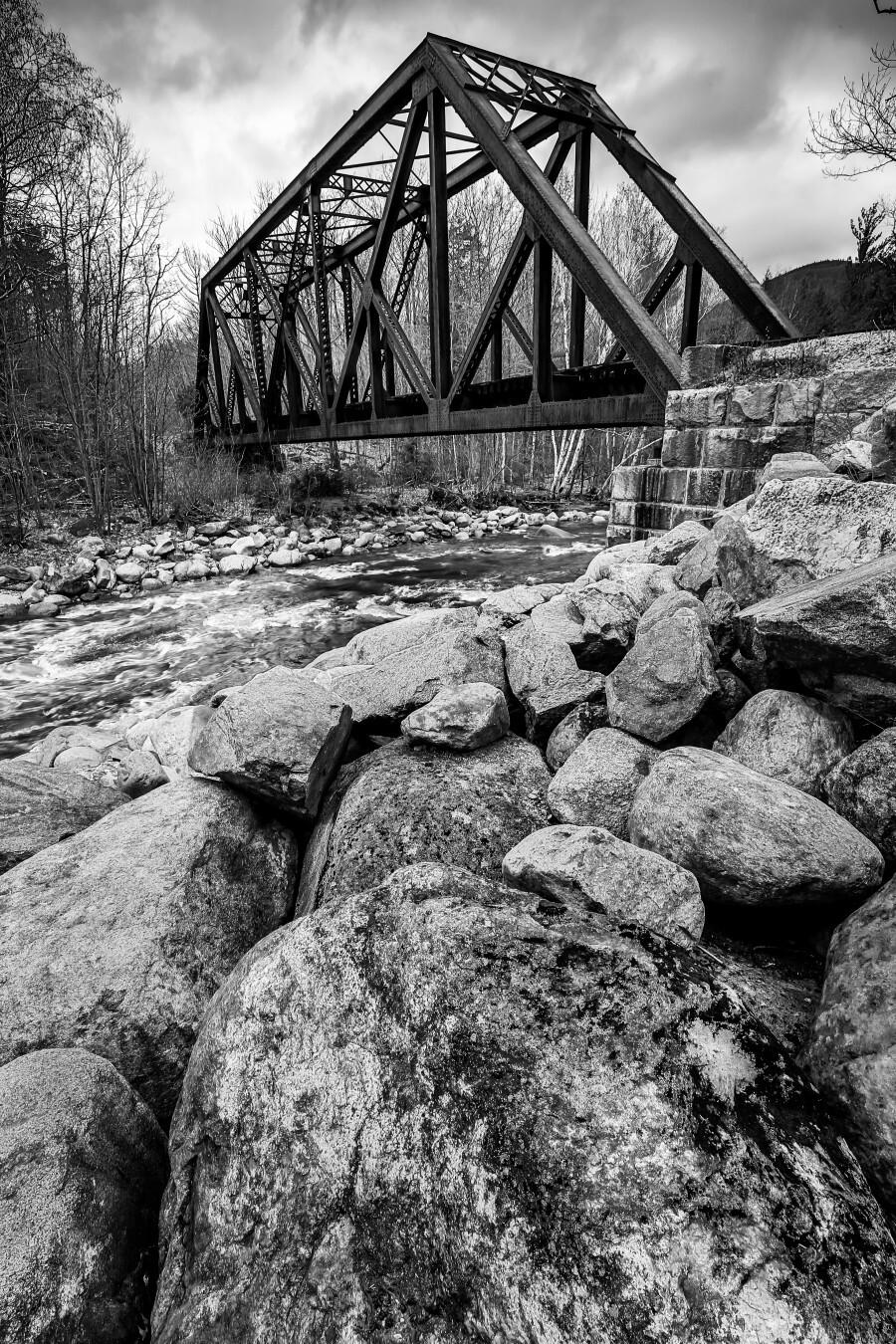 Train Bridge ap 2225 B&W  Print