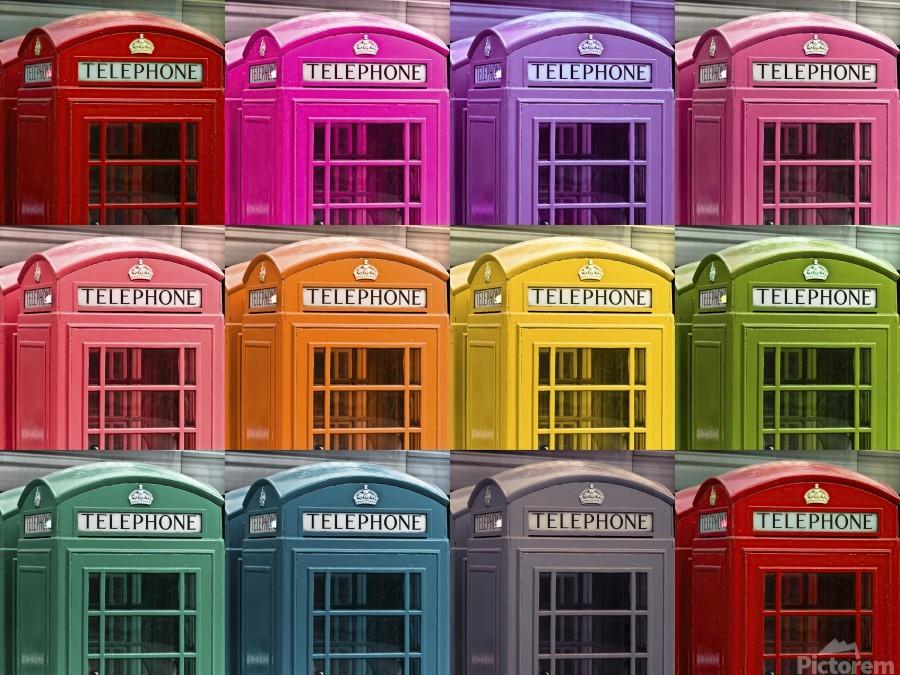 Multicoloured telephone boxes  Print